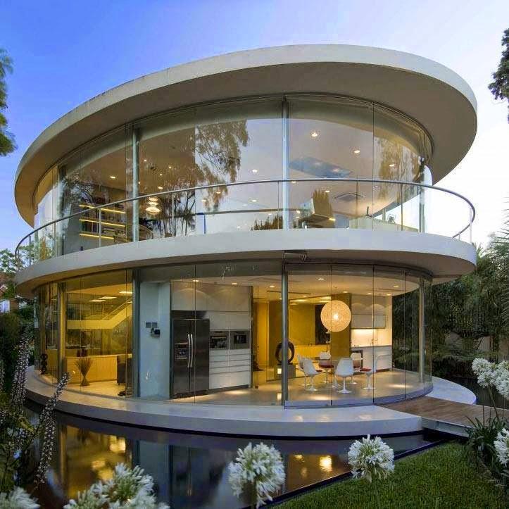 Construindo minha casa clean 30 fachadas de casas for Casas modernas redondas