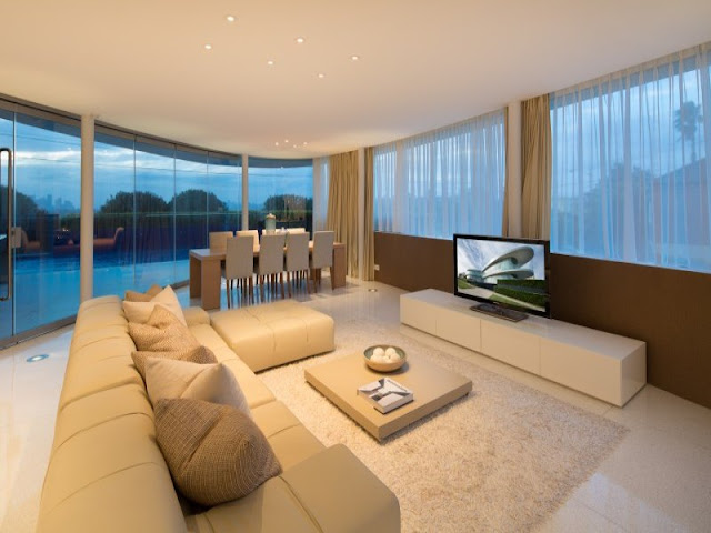Modern living room with white walls and furniture
