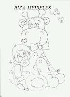 risco de bebe com girafa de pano para pintar