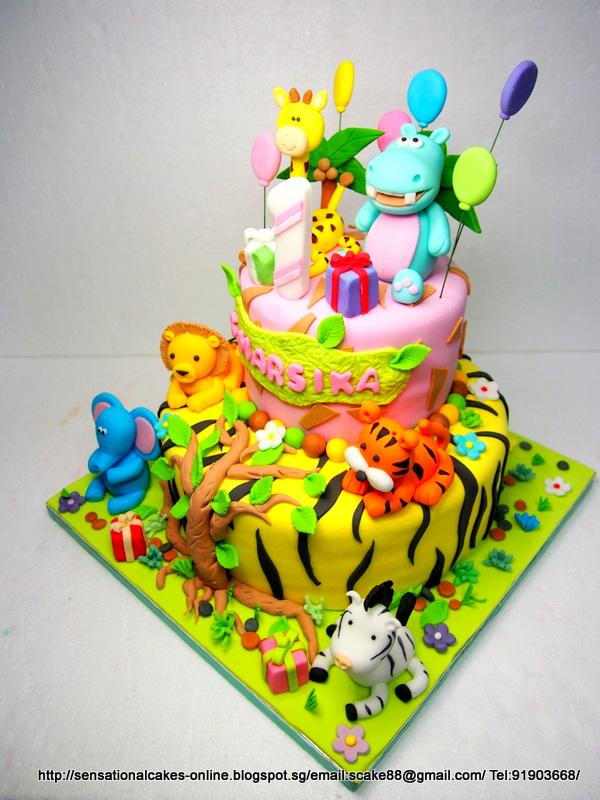The Sensational Cakes Jungle Safari Theme With Cute Hippo Cake