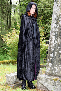 hooded black velvet cape costume discounters