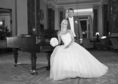 Wynyard Hall Grand Piano and wedding couple