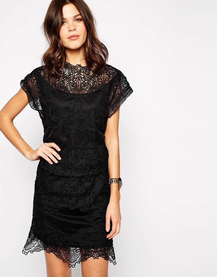 yas black lace dress, asos black lace dress