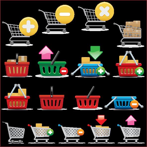 vector de Carrito compras y cestas de ecommerce