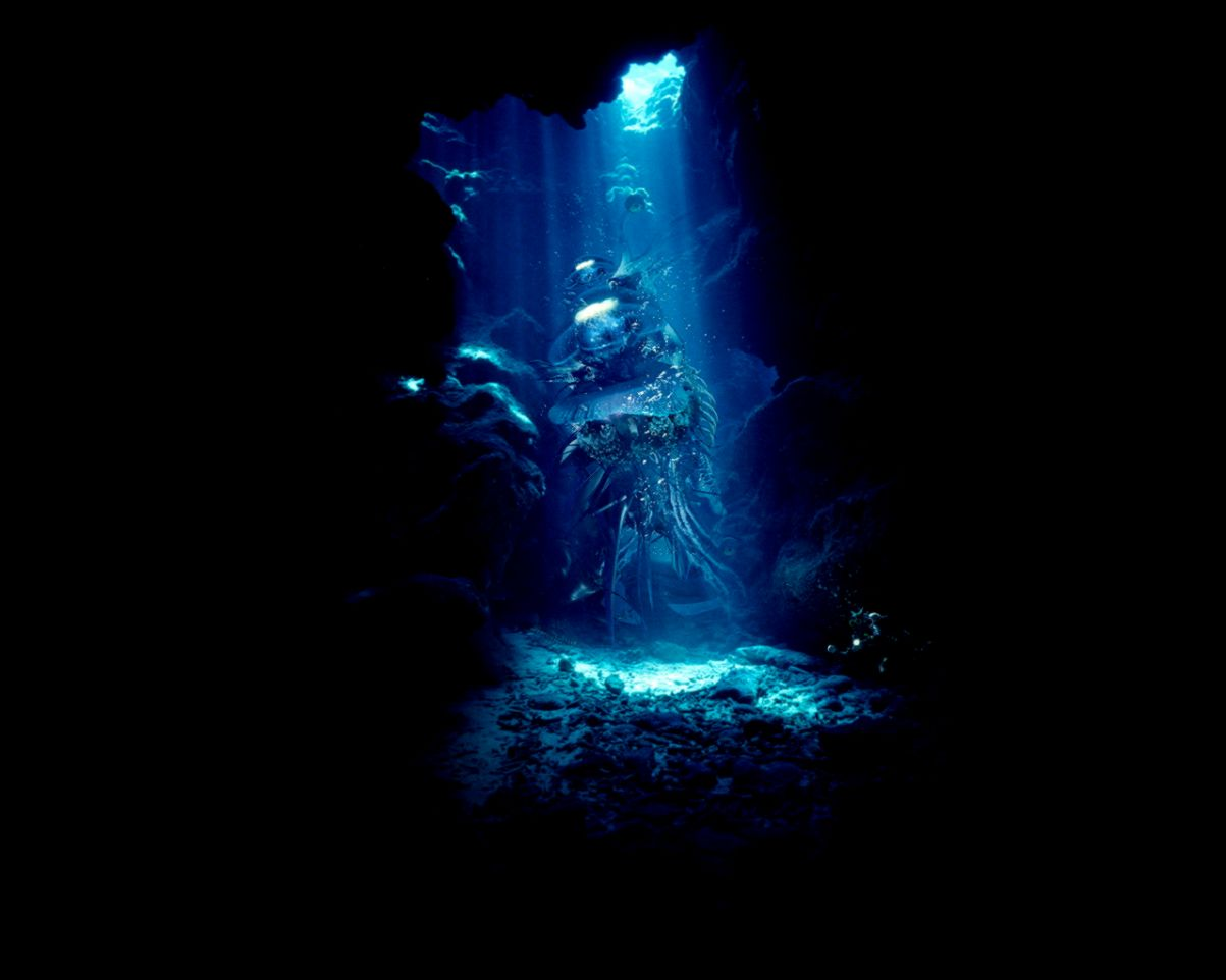 Light in underwater cave wallpapers and images   wallpapers