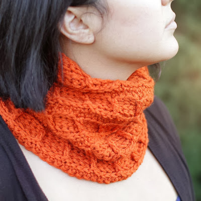 free crochet pattern orange textured cowl
