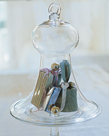 Tamryn kirby i love cloche centrepieces for Martha stewart christmas wine glasses