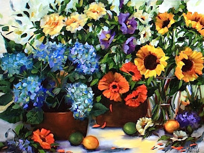 painting roses and hydrangeas and a flower garden tour of coronado island by texas artist nancy medina - Flower Garden Paintings