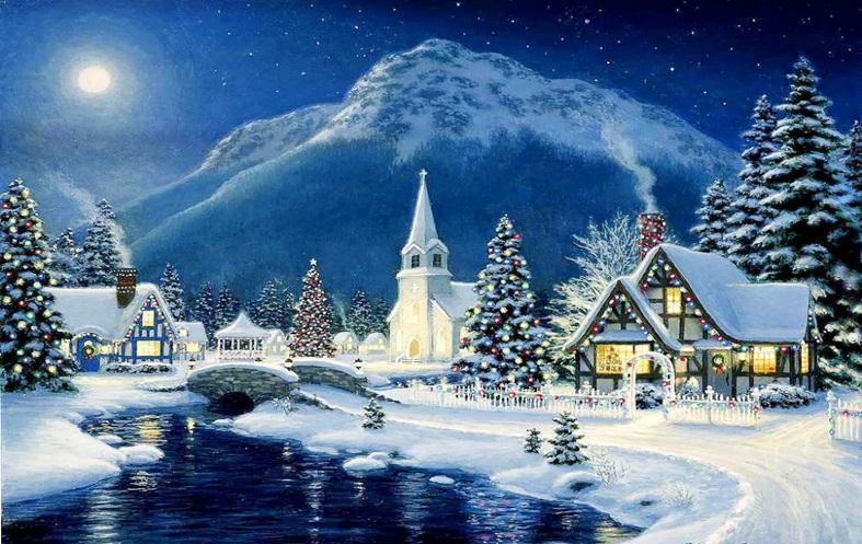 christmas snow scene picture