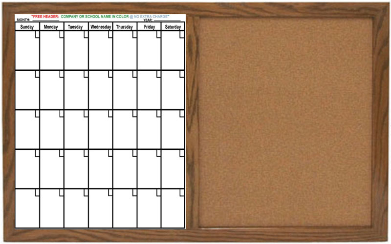 Dry Erase Calendar And Cork Board Combo : Flex a chart combination boards w half dry erase