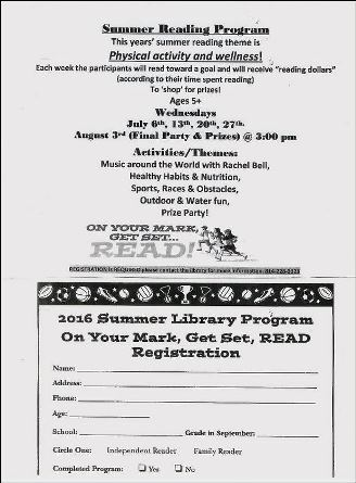 7-6/13/20/27 Summer Reading Program