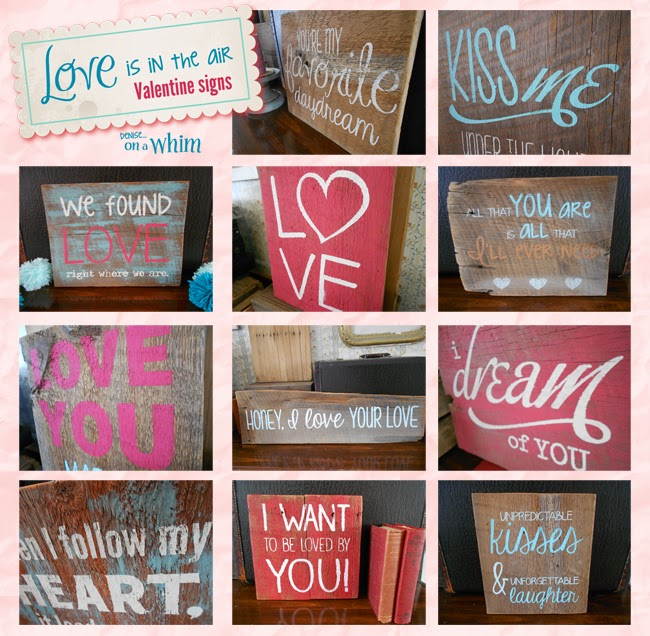 Love Is in the Air Valentine Signs on Reclaimed Wood from Denise on a Whim