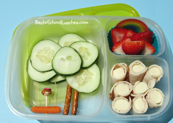 String cheese turkey roll ups and tree swing bento school lunch