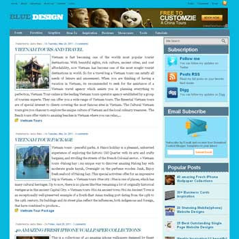Blue Design blogger template. template 3 column footer. template blog ads ready