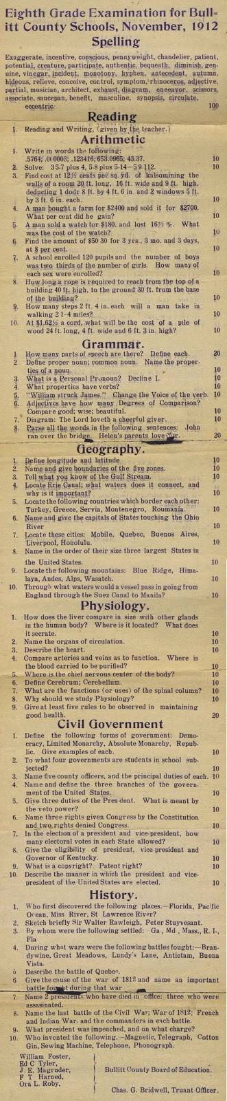 1912 test for eighth graders dating 8