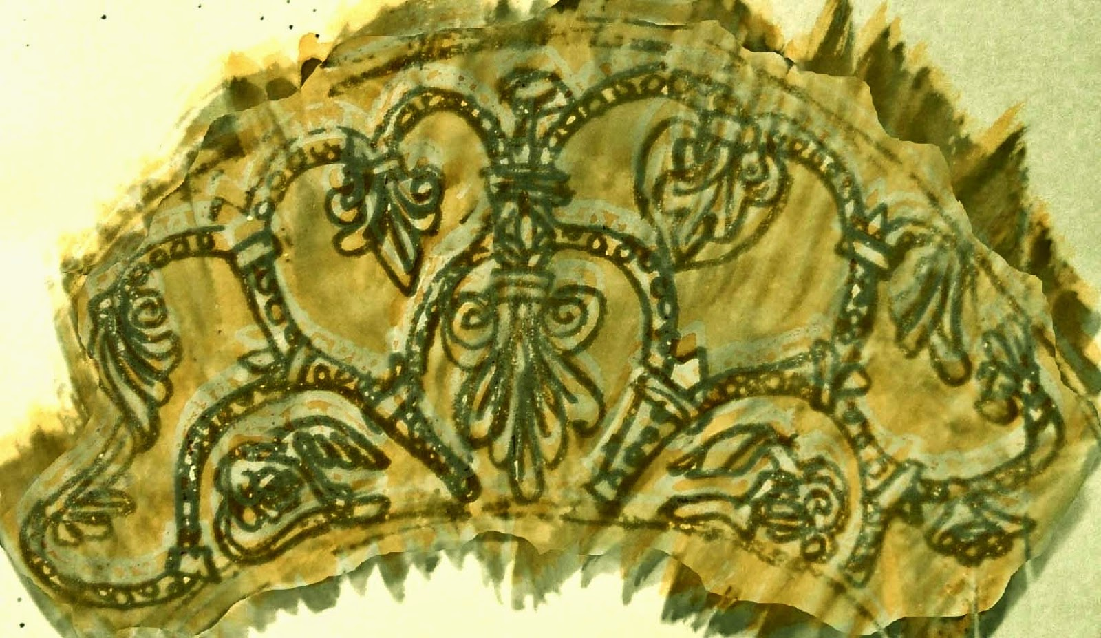 My pen and watercolour sketch of the tympanum, digitally enhanced