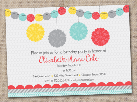 Ink Obsession Designs New Party Pom Pom Printable Invitations – Party Invite Website