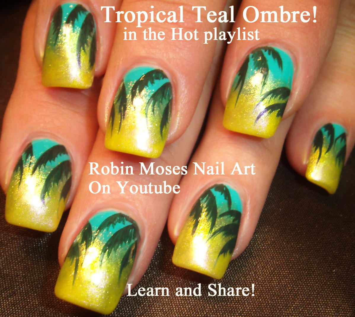 Robin Moses Nail Art February 2015: Robin Moses Nail Art: Tropical & Trendy Teal Nails To Try