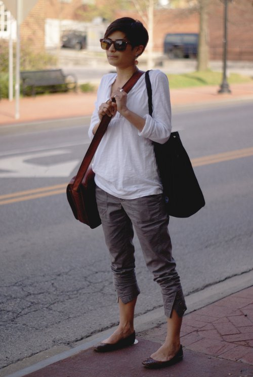 White blouse cropped pants with flats, womens street style blacksburg, virginia street style, southern street style