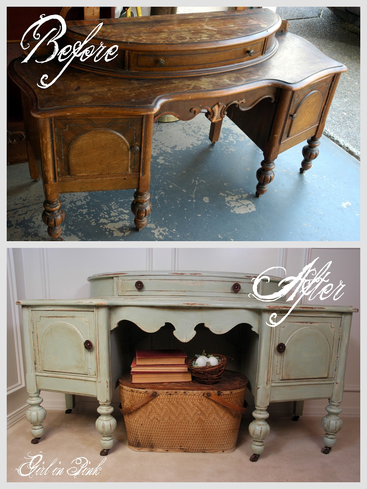Old Vanity Painted with Chalk Paint