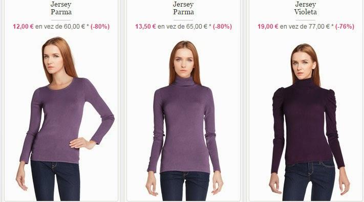 Ejemplos de jerséis en color parma que puedes comprar desde 12 euros.