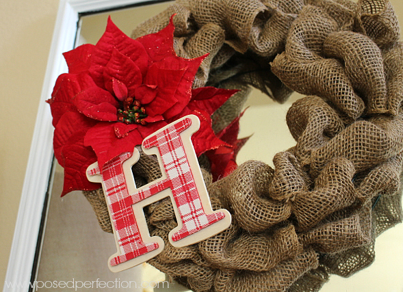 Loopy Burlap wreath with poinsettia and red plaid initial ornament