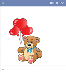 Teddy Bear with Heart-Shaped Balloons