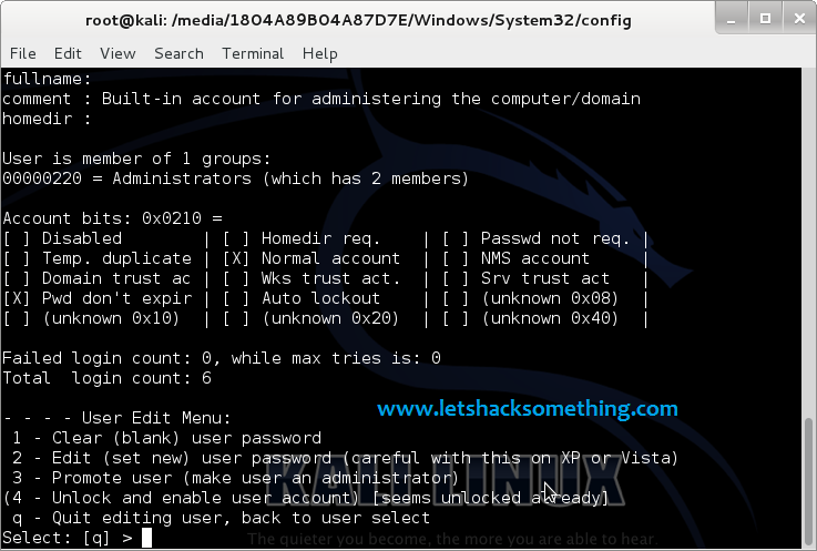 break windows admin passwords kali linux