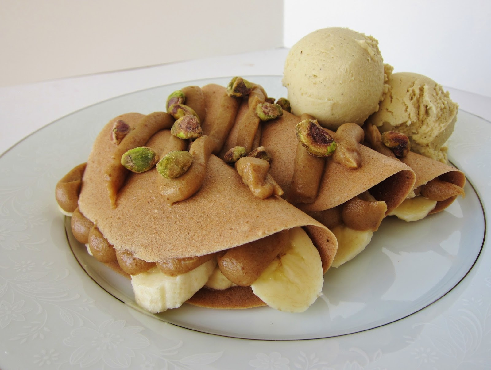 ... : Raw Banana Caramel Crepes with Pistachios and Banana Lime Ice Cream