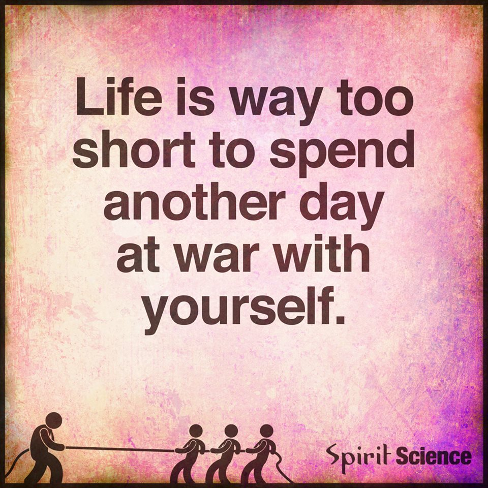 Short Spiritual Quotes About Life Impressive Life Is Way Too Short To Spend Another Day At War With Yourself.