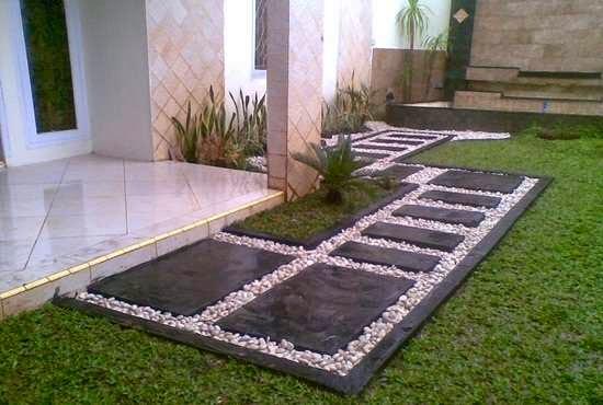 model taman rumah minimalis batu alam