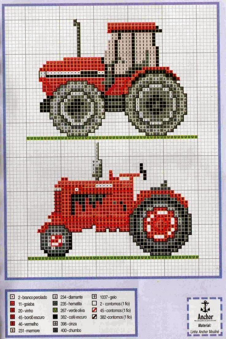 Трактор вышивка схема