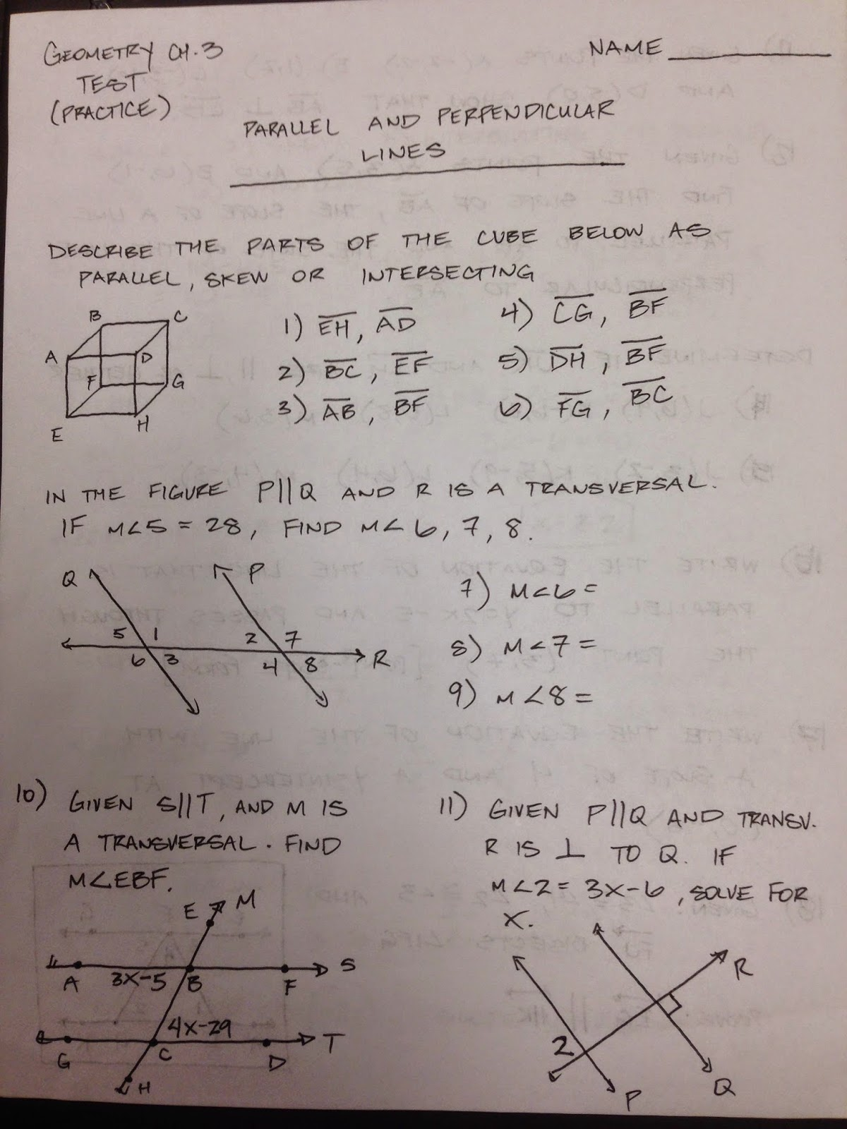 high school geometry test pdf