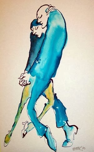 dance illustration dancing couple by american cartoonist Jules Feiffer