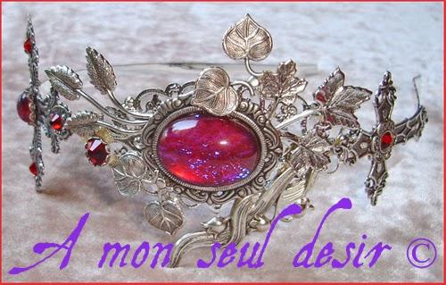 Serre-tête gothique gothic goth croix argentée dragon breathe mexican opal Dark Romance silver cross jewelry
