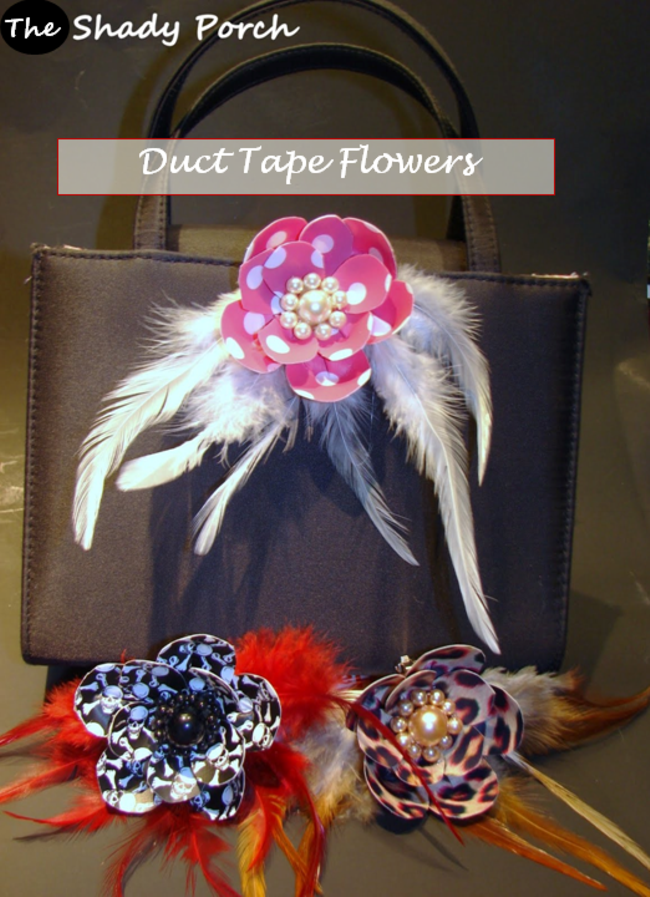 clip-on patterned Duct Tape Flowers #crafts #fashion #feathers #flowers