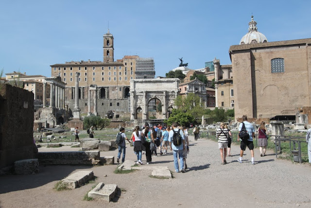 The entrance of Forum Romanum (Roman Forum) which is located nearby to Colosseum in Rome, Italy