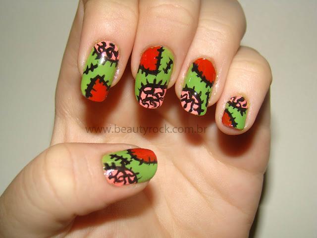 Unhas zumbi, nail art zombie halloween
