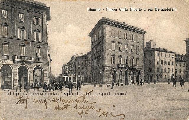 Old postcard, Piazza Carlo Alberto, Livorno