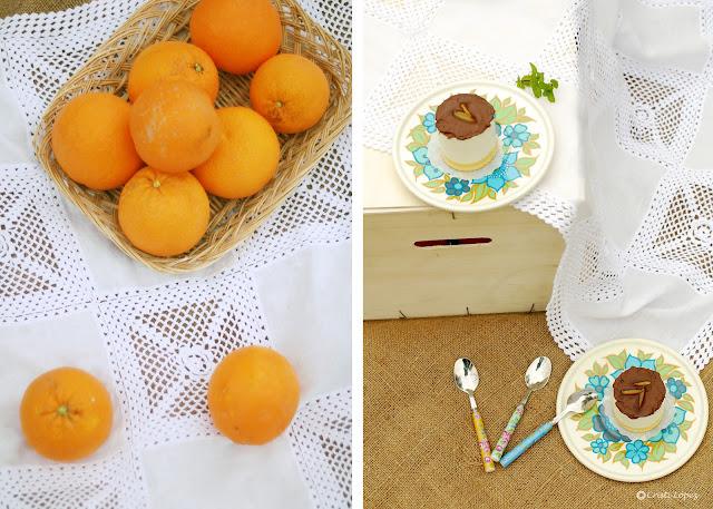 Mousse de naranja con chocolate y bizcocho