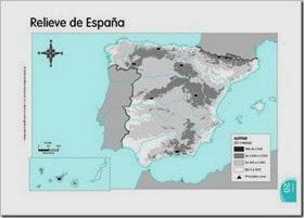 Mapa físico mudo España.