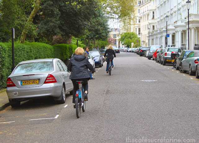 Biking through the streets and boroughs of London.