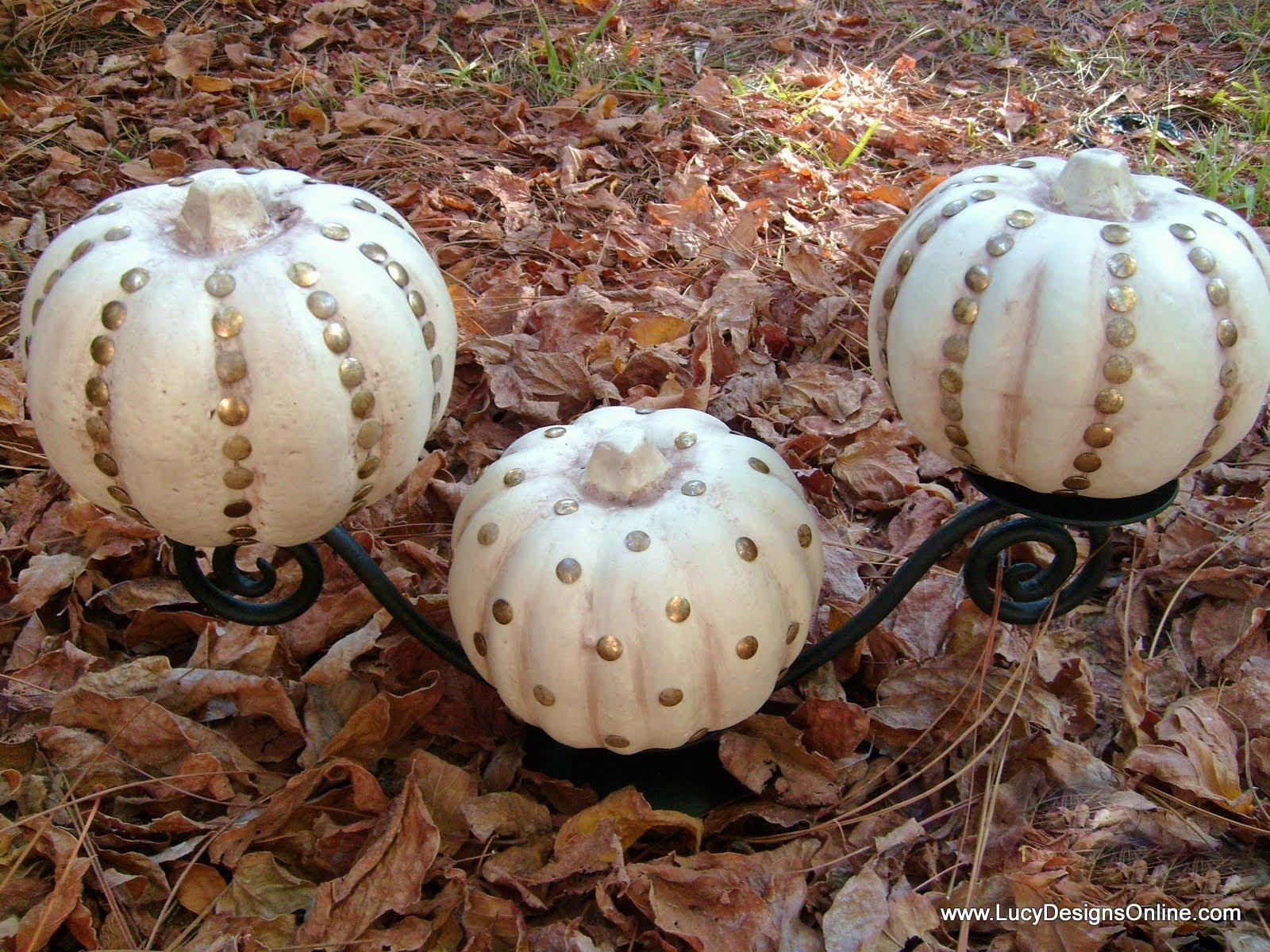 How to store pumpkins - Glam Studded Halloween Dollar Store Pumpkins