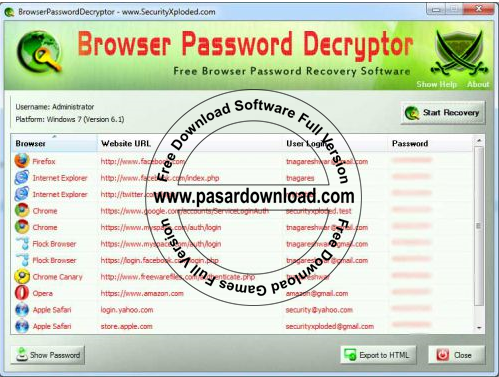 Free Download Software Browser Password Decryptor 6.0