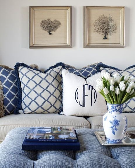southern royalty blue white living rooms