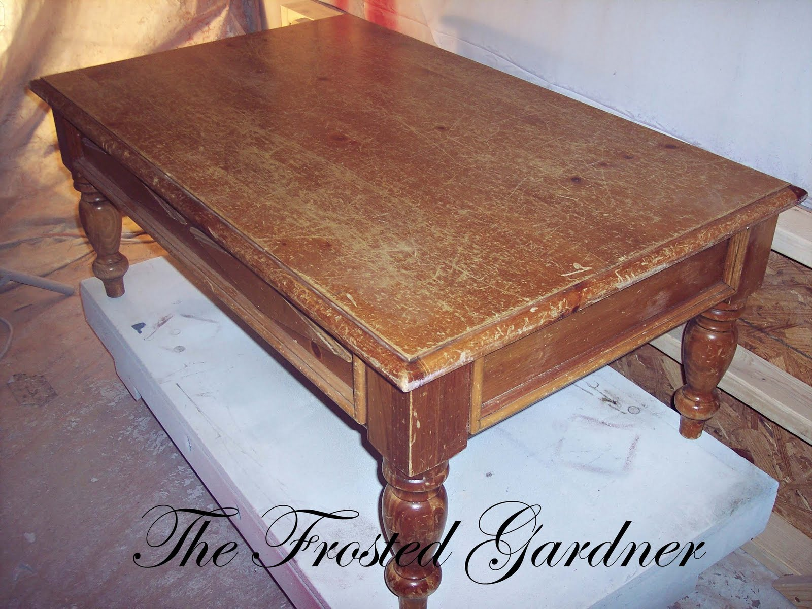 The Frosted Gardner The Petersen Coffee Table Custom Refinish Before After