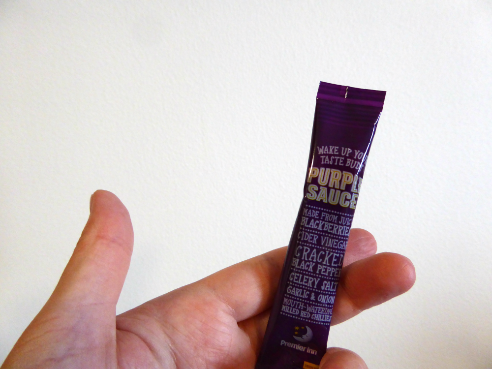 A Comfy Bed, A Cooked Breakfast and Pretending to be Tina Fey - Premier Inn Purple Sauce Sachet