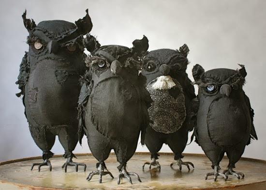 Soft Sculpture Textile Owl Art in Dark by Ann Wood