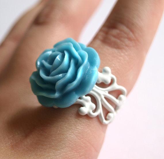 Something Blue Bridal ring with Egg Blue Rose on White Adorable