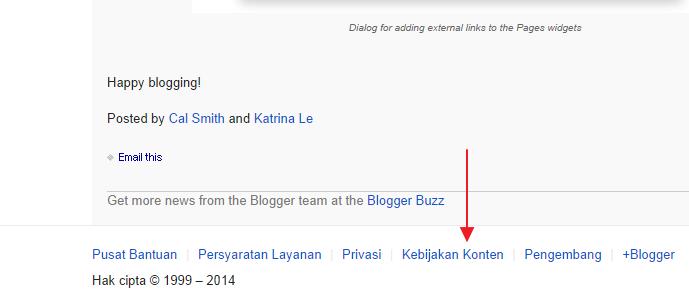 Kebijakan konten blogger